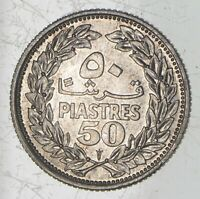 ROUGHLY SIZE OF QUARTER 1952 LEBANON 50 PIASTRES   WORLD SIL