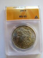 1889 P MORGAN DOLLAR VAM 28A DOUBLE EAR  PITTED REVERSE  ANACS MINT STATE 61 HIT LIST 40