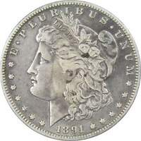 1891 O VAM 1A1 E ON REVERSE $1 MORGAN DOLLAR 90 SILVER US COIN F FINE DETAILS