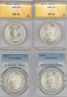 LOT 4 DIFFERENT MORGAN DOLLARS 2 PCGS MINT STATE 64 2 ANACS MINT STATE 65 1883-O 1885-O 1881-S