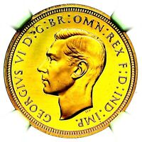 1937 GEORGE VI GREAT BRITAIN GOLD PROOF HALF 1/2 SOVEREIGN NGC PF66 ULTRA CAMEO
