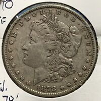 1878 $1 MORGAN SILVER DOLLAR 7TF REVERSE OF 1878 53378
