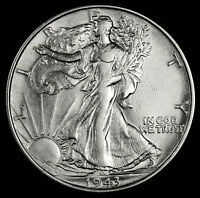 1943-P WALKING LIBERTY HALF.   A.U. 65421  INV. F