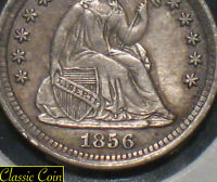 1856 SILVER SEATED LIBERTY HALF DIME XF DETAILS 90  SILVER