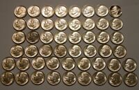 50 PIECE ROLL SILVER MIXED DATES 1950'S ROOSEVELT DIMES CHOI