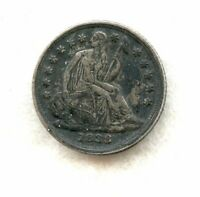 1838 SMALL STARS  LIBERTY SEATED HALF DIME  CH EXTRA FINE