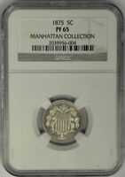 1875 5 CENTS SHIELD NICKEL, NGC PF65. PROOF