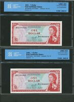 LOW SERIAL NUMBERS CONSECUTIVE PAIR 1965 $1 EAST CARIBBEAN UNC64 63 CCCS. P 13F