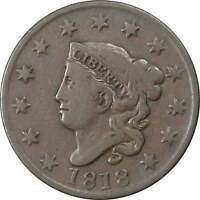1818 1C CORONET HEAD LARGE CENT PENNY COIN VF FINE