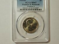 PCGS MINT STATE 67 2014 D FRANKLIN D ROOSEVELT PRESIDENTIAL DOLLAR POS  A
