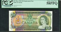 1969 $20 BANK OF CANADA REPLACEMENT NOTE  EA1473339 PCGS AU58 PPQ BV$335 BC 50AA
