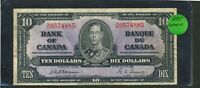 1937 $10 BANK OF CANADA   OSBORNE TOWERS  SIGNATURES. BC 24A.