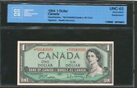 1954 $1 BANK OF CANADA REPLACEMENT BANKNOTE  MY. CCCS UNC 62. BC 37BA.