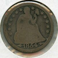 1854-O ARROWS SEATED LIBERTY DIME COIN 10C - NEW ORLEANS MINT JG287