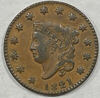 XF 1821 US LIBERTY HEAD LARGE CENT 1C   MATRON HEAD A BEAUTY