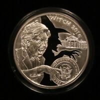 2016 VOTE WITCH  CLINTON . 1 OZ .999 SILVER SHIELD SBSS BOX & COA LOW MINT PROOF