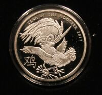 2017 YEAR OF THE ROOSTER V1. PROOF 1 OZ .999 SILVER SHIELD SBSS BOX & COA 185