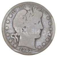 BETTER 1903   US BARBER 90  SILVER HALF DOLLAR COIN COLLECTI