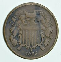 TWO CENT   1865 US TWO 2 CENT PIECE FIRST COIN WITH IN GOD WE TRUST MOTTO  779