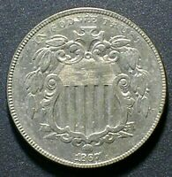 1867 WITH RAYS SHIELD NICKEL LUSTROUS EXTRA FINE   5 CENTS BETTER DATE LOOKS GREAT