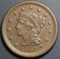 1851 BRAIDED HAIR LARGE CENT ALMOST UNC PENNY SHARP LUSTROUS PROBLEM FREE