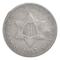 1853 SILVER THREE CENT PIECE   TRIME   CHARLES COIN COLLECTI