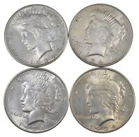 LOT OF 4 1934-D PEACE SILVER DOLLARS 5829
