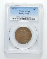 AU55 1839 YOUNG HEAD LARGE CENT - BOOBY HEAD - GRADED PCGS 6347