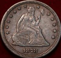 1878 CC CARSON CITY MINT SILVER SEATED LIBERTY QUARTER