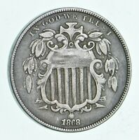 FIRST US NICKEL   1868   SHIELD NICKEL   US TYPE COIN   OVER 100 YEARS OLD   513