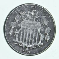 FIRST US NICKEL   1870   SHIELD NICKEL   US TYPE COIN   OVER 100 YEARS OLD   519