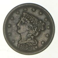 1853 BRAIDED HAIR HALF CENT   GREENBERG COIN COLLECTION  783