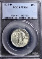 1926-D STANDING LIBERTY QUARTER PCGS MINT STATE 64 SHIPS FREE ANCT-1