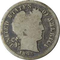 1894 10C BARBER SILVER DIME US COIN G GOOD
