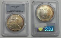 2007 AMERICAN SILVER EAGLE - PCGS MINT STATE 67 VIBRANT GOLDEN TONING   0944