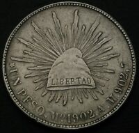 MEXICO 1 PESO 1902 MO AM   SILVER   VF   556