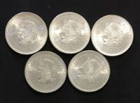 LOT OF 5 UNCIRCULATED 1948 MEXICO SILVER COINS CINCO PESOS C
