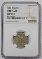 1866 5 C. SHIELD NICKEL RAYS NGS AU DETAILS CLEANED MISALIGNED DIES