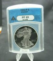 1993 -P PROOF SILVER EAGLE. ANACS PF69 DCAM WITH TONING LOOK
