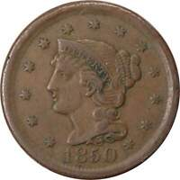 1850 1C BRAIDED HAIR LARGE CENT PENNY COIN VF  FINE
