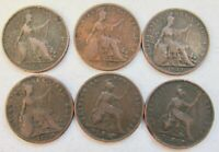 GREAT BRITAIN 6 DIFFERENT FARTHING 1/4D 1821 22 23 25 26 30