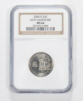 MS66 2000 D NEW HAMPSHIRE STATE QUARTER   GRADED NGC  124