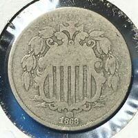 1868 5C SHIELD NICKEL 54595