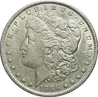 1886-O MORGAN SILVER DOLLAR, AU WITH SOME LUSTER, LIGHT TONING