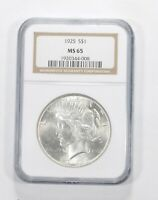 MS65 1925 PEACE SILVER DOLLAR   GRADED NGC  590