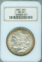 1887 $1 MORGAN SILVER DOLLAR NGC MINT STATE 65 TONED OLD HOLDER 2025612