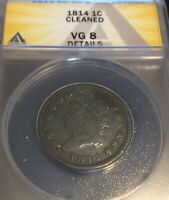 1814 1C LARGE CENT CLASSIC HEAD ANACS  GOOD 8 DETAILS, FEW MARKS, PLAIN 4