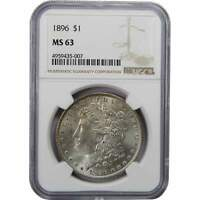 1896 $1 MORGAN SILVER DOLLAR COIN MINT STATE 63 NGC TONED