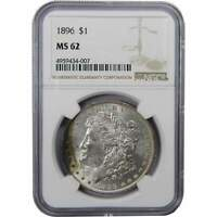 1896 $1 MORGAN SILVER DOLLAR COIN MINT STATE 62 NGC TONED