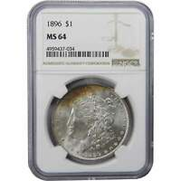 1896 $1 MORGAN SILVER DOLLAR COIN MINT STATE 64 NGC TONED